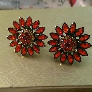 Heidi daus beautiful orange sunflower earrings